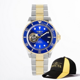 Invicta Pro Diver Men 40mm Case Steel, Gold Stainless Steel StrapBlue Dial Automatic Watch 21719 w/ Cap - intl Price Philippines