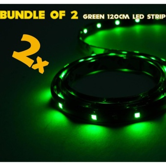 IP68 Rated 120cm (Green) WaterProof LED Strip Tape Light (Bundle of 2)