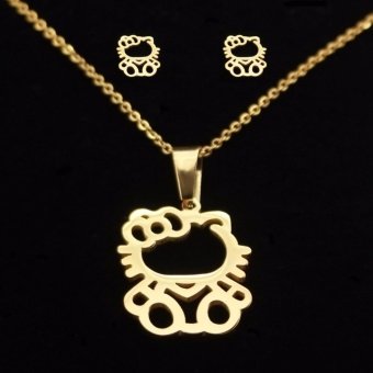 J&J Adorable Hello Kitty Pendant Gold Necklace & Earring Set