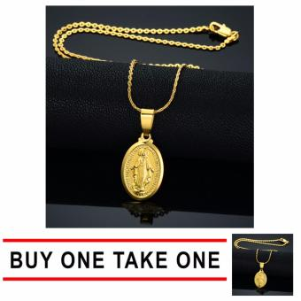 J&J Buy One Take One Tiny 14k Gold Filled Miraculous Medal Necklace Virgin Mary Necklace