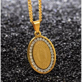J&J Golden Cubic Zirconia Guadalupe Miraculous Medal Virgin Mary Necklace