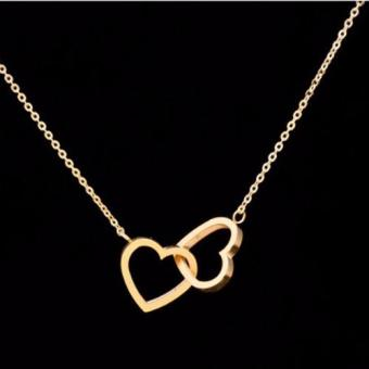 J&J Jewelry Gold Plating PVD Stainless Steel Dainty Tiny Two Entwined Hearts Pendant Necklace