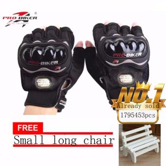 JAPAN and USA best selling free Small long chair BLACK/SLIVER Fingerless Motorcycle Gloves Half Finger Guantes Motorcross Bicycle Riding Racing Cycling Sport Gears Breathable Luvas (Black)