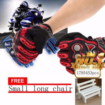 JAPAN and USA best selling free Small long chair Full FingerMotorcycle Cycling Racing Riding Protective Gloves (Black+red)
