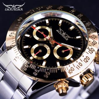 Jaragar Golden Bezel 3 Dial Display Luxury Series Mens WatchesLuxury Automatic Fashion Military Mechanical Watch - intl
