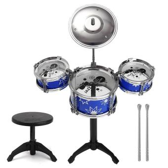 Jazz Drum and Chair Set Kids Early Education Toy Percussion Instrument (Blue)