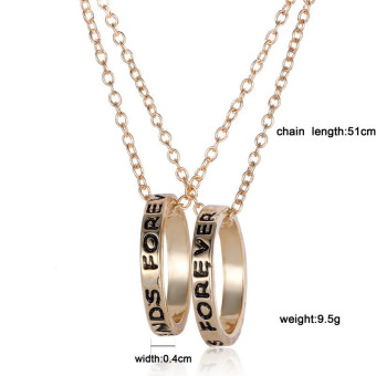 Jetting Buy Chic Best Friend Forever Ring Pendant NecklaceFriendship Letters Necklace Gold - 3