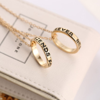 Jetting Buy Chic Best Friend Forever Ring Pendant NecklaceFriendship Letters Necklace Gold - 2