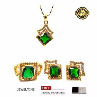 Jewelmine Arrow Emerald Cubic Zircon Jewelry Set (gold)