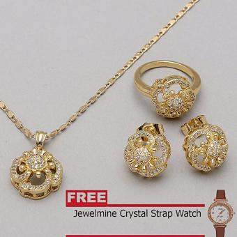 Jewelmine Clover Diamond Cubic Zircon Jewelry Set (gold) with free Jewelmine Watch