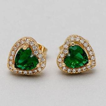 Jewelmine Heart Emerald Cubic Zircon Earrings (Gold)) With Free Isabella Round Earrings - 4