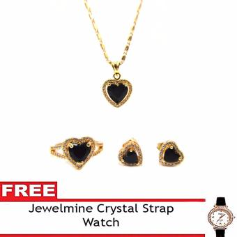 Jewelmine Heart Onyx Cubic Zircon Jewelry Set with free Crystal Leather Strap Watch(gold)