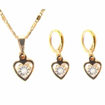 Jewelmine Heart Zircon Jewellery Set (gold)