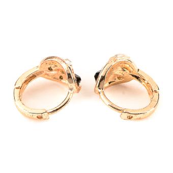 Jewelmine Isabella Onyx 18k Plated Earrings (gold) with FreeIsabella Round Plated Earrings - 3