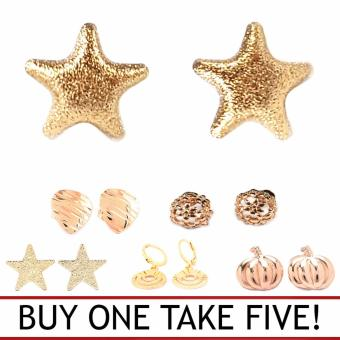 Jewelmine L'amour 18k Gold Plated Earrings ( Buy One Take Five)(gold)