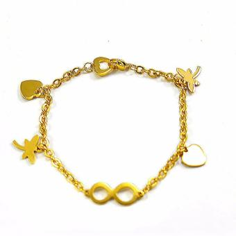 Jewelmine Multi Charm Stainless Steel Bracelet (18k Gold Plated)