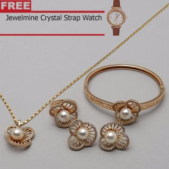 Jewelmine Pearl Flower Cubic Zircon Jewelry Set (gold) with free Jewelmine Watch