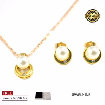 Jewelmine Pearl Jewellery Set (18k Gold Plated)