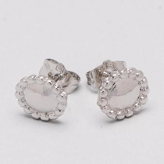 Jewelmine Round 18k White Gold Plated Earrings (Silver) - 2