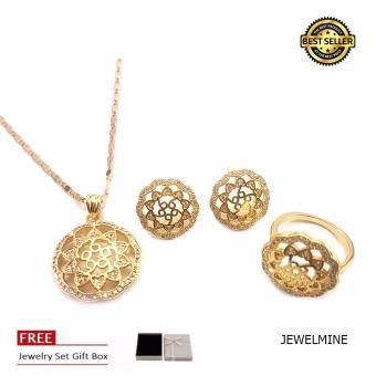 Jewelmine Round Maze Cubic Zircon Jewellery Set (18k Gold Plated)