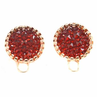 Jewelmine Ruby Multi Faceted Earrings (18k Gold Plated)