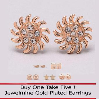 Jewelmine Sunny 18k Gold Plated Earrings (Buy One Take Five)