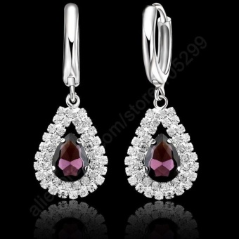 Jewelry 2016 Stock 925 Sterling Silver Purple CrystalPendantNecklace Hoop Earring Set Ear Leverback Necklace 18?x9DSilver ChainFor Woman Wedding - intl - 2
