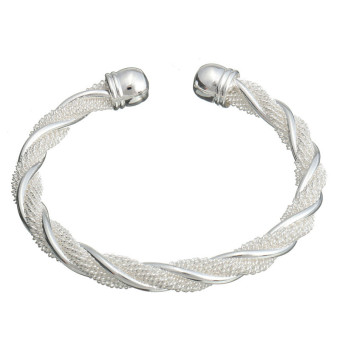 Jewelry Fashion Twist Solid 925 Silver Men/women Bangle Bracelet Christmas Gift - Intl