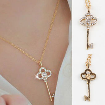 Jewelry Hollow Key Retro long Pendant Sweater Chain Necklace - intl Price Philippines