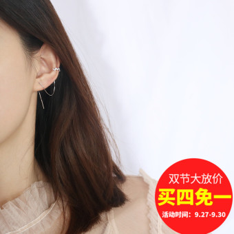 Jewelry s925 Jianyue silver plated white gold diamond set ring tassled hanging earrings ear clip
