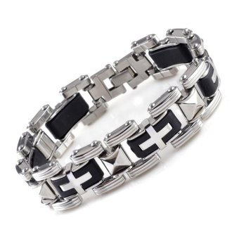 Jiayiqi Silver Link Cross Stainless Steel Silicone Bangle Bracelet For Men