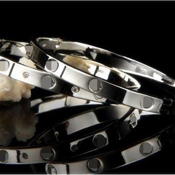Jiayiqi Simple Men Bangle Silver Charm Bracelet - 3