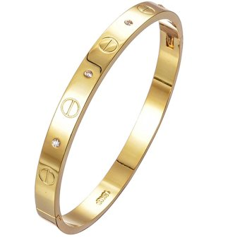 Jiayiqi Simple Women Bangle Golden With Diamond Charm Bracelet