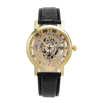 JinGle Men Hollow Carve Leather Band Strap Watch (Black Gold) - picture 2