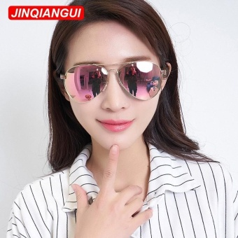 JINQIANGUI Sunglasses Women Pilot Titanium Frame Sun Glasses BarbiePink Color Eyewear Brand Designer UV400 - intl