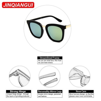 JINQIANGUI Sunglasses Women Square Plastic Frame Sun Glasses Black Color Eyewear Brand Designer UV400 - intl - 5