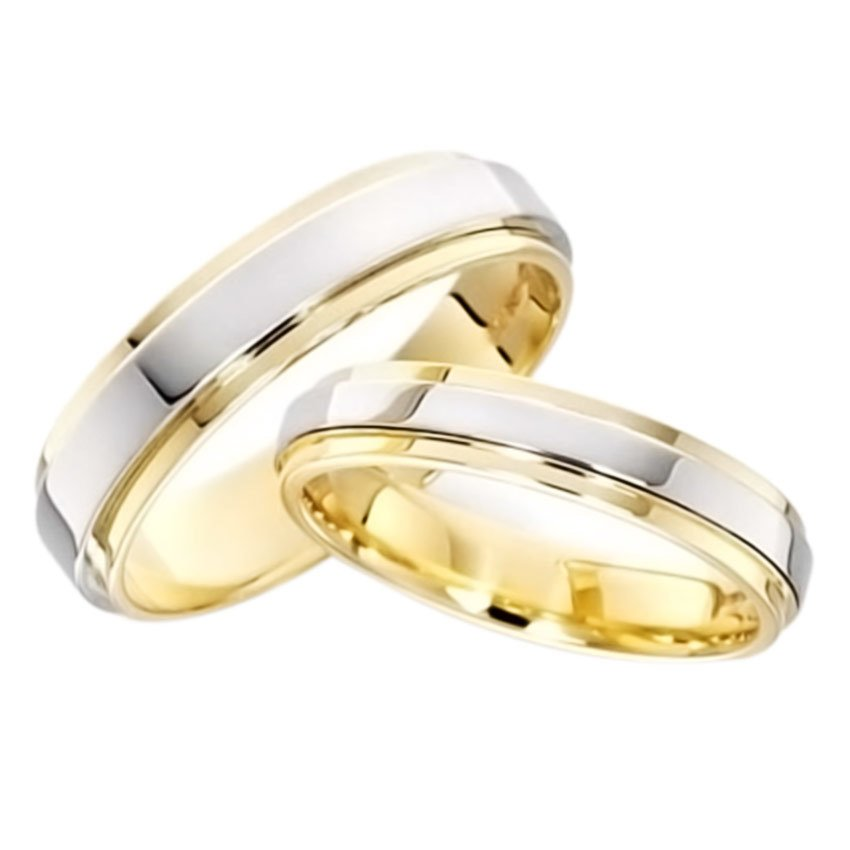 JJJ Jewelry Jade Couple Wedding Ring (Two Toned)
