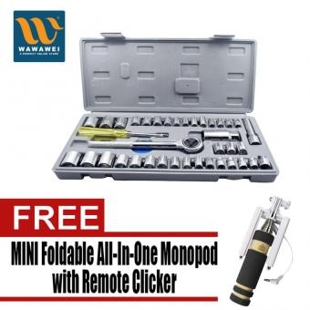 JOSE 40PCs Socket Set (L) (Multicolor) with Free Mini FoldableAll-In-One Monopod with Remote Clicker (Black)