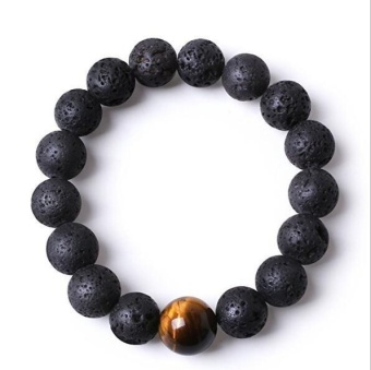 JOY Volcanic stone beaded bracelet Black