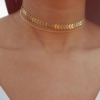 Joywish New Arrival Gold-Color Silver Color Two Layers ChokerNecklace Choker Geometric Necklace Women Accessories - intl