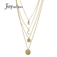 PHP 351. Joywish Rock Punk Style Gold Color Multi Layer Chain Pendant Necklace For WomenPHP351