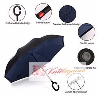 Katelegance Waterproof Double Layer Reverse, Inverted Folding Umbrella (Navy Blue)