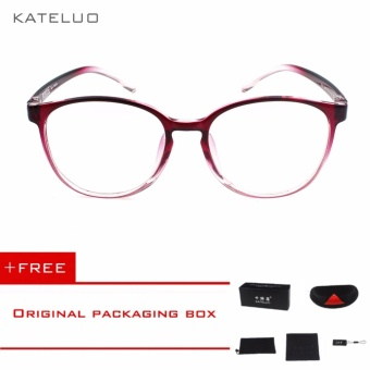 KATELUO Retro Eyeswear TR90 Anti Computer Blue Laser Fatigue Radiation-resistant Eyeglasses Goggles Glasses 9300 (Red)[ free gift ]