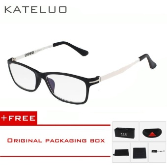 KATELUO TUNGSTEN CARBON STEEL Computer Goggles Anti Fatigue Radiation-resistant Glasses Frame Eyeglasses 13025 (White) [ free gift ]