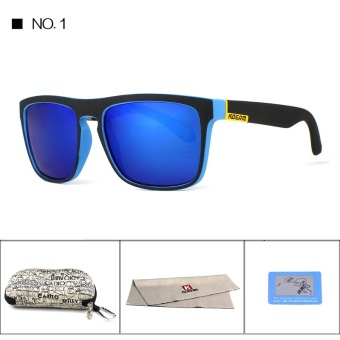 KDEAM Polarized Sunglasses 2017 Hot Men Sport Sun Glasses Metal Hinges HD Polaroid lens Square Frame With Hard case 10 Colors KD156 - intl