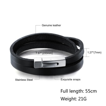 Kebolat 55CM Multilayer Genuine Leather Stainless Steel MenBracelet Jewelry Wire Bracelets Cool Man Casual Trend MaleAccessorie PH908-L55 - intl - 2
