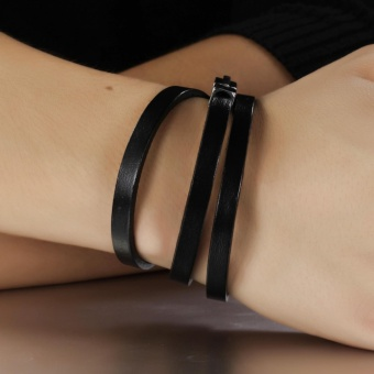 Kebolat 55CM Multilayer Genuine Leather Stainless Steel MenBracelet Jewelry Wire Bracelets Cool Man Casual Trend MaleAccessorie PH908-L55 - intl - 5