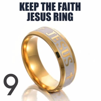 KEEP THE FAITH JESUS RING (size 9) STAINLESS STEEL 18K GOLD PLATED