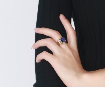 Kemstone Natural Blue Topaz Gemstone Genuine Diamond SterlingSilver Yellow Gold Ring Fine Jewelry For Women - intl - 3