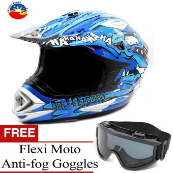 KING COBRA Dr. Feelgood Motocross Motorcycle Helmet by Everstrong(Blue) With FlexiMoto Glasses